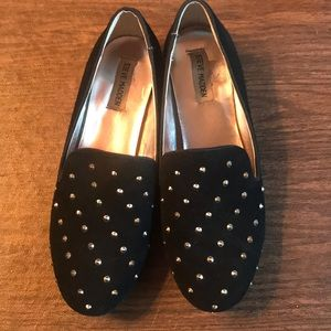STEVE MADDEN BLACK SUEDE STUDDED FLATS SHOES 9.5